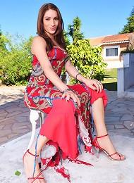 Transsexual hottie Adriana Rodriques posing her super big cock